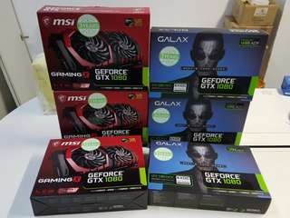 6 x 1080 (3 x msi gaming x & 3 x galaxy 1080 Extreme oc exoc) brand new sealed.