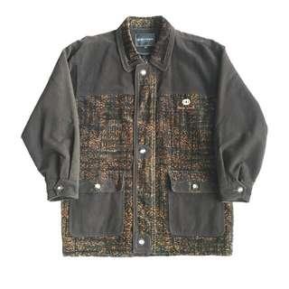 🚚 顛復古⚡️復古奢華豹紋絨布拼接古著大衣外套❤️男女皆可