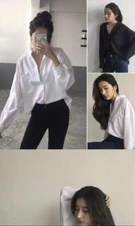 long sleeve deep v neck blouse Pre-Order