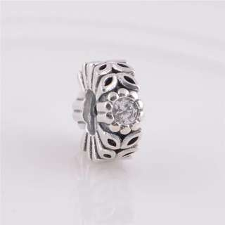 Code SS743 - White Clear Cz Leaf 100% 925 Sterling Silver Charm, Chain Is Not Included, Compatible With Pandora