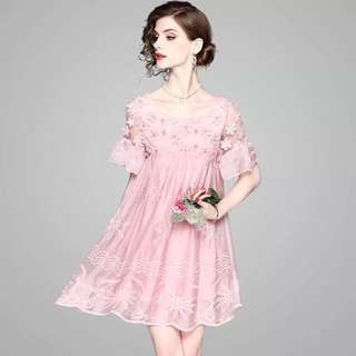 Floral applique beaded ruffled loose party dress