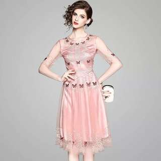 Heavily embroidered lace mesh butterfly sheer dress cocktail evening party mini gown