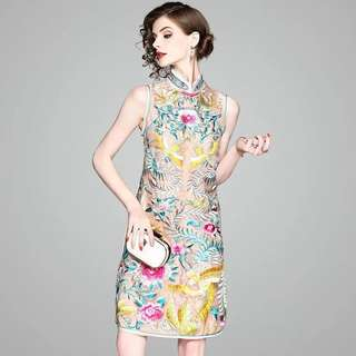 Heavily embroidered modern cheongsam Qipao dress chinese traditional costume