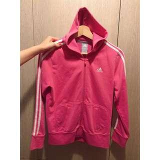 正品 adidas 愛迪達 粉紅色連帽運動外套