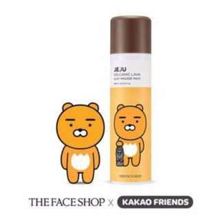 The face shop x kakao friends jeju volcanic lava clay mousse pack