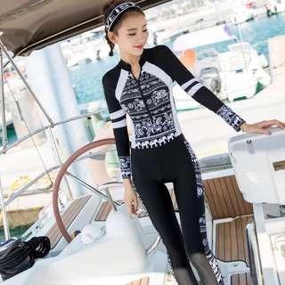 Monokini Zip Rashguard 2 Piece Long Sleeve Long Tights Swim Wear Plus Size Available