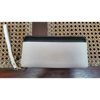 Gray long wallet with strap