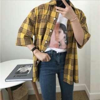 🚚 黃色格紋襯衫