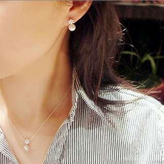 Crystal Rhinestones and pearl earrings. PO