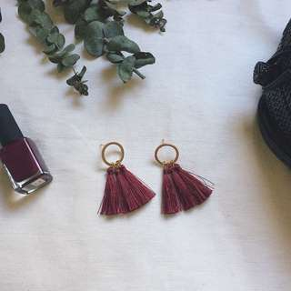 Wyils Gold Hoop Tassel Earrings