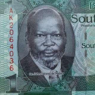 2011年 非洲 南蘇丹 1磅 長頸鹿 全新直版