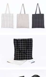 checkered tote bag zipper or no zipper Pre-Order