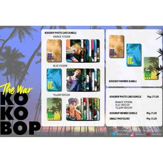 EXO THE WAR KOKOBOP UNOFFICIAL PHOTO CARDS (8PC)