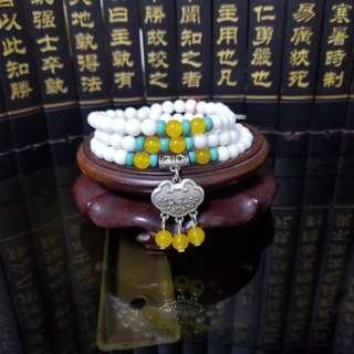 6mm白硨磲配搭泰國銀時尚手串
