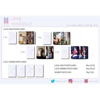 BTS LOVE YOURSELF UNOFFICIAL & FAN MADE PHOTO CARDS (7PC)