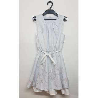 韓款 灰藍色碎花連身裙