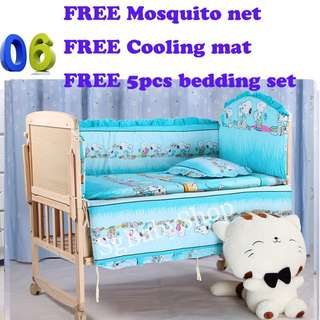 Brand New wooden baby cot/bed/Free bedding set/Free mosquito net/Free cooling mat/cot/bed/net