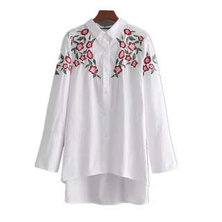 European and American shoulder flower heavy embroidery long section long-sleeved shirt blouse