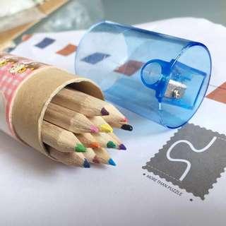 🚚 12色迷你色鉛筆/彩色色鉛筆 含削筆器 #交換最划算