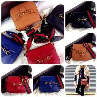 GUCCI Lady Web Leather Shoulder Bag SS18