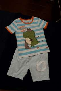 Set shorts POM and shirt 12 months baby