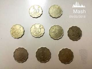 Antique HK 20 cents coins Year 1994, 1997 & 1998