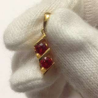 Genuine Red Ruby Pendant in 20k Solid Gold