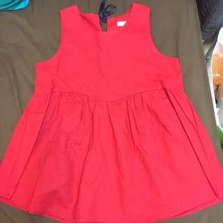 🚚 紅色後綁帶上衣 背心 洋裝