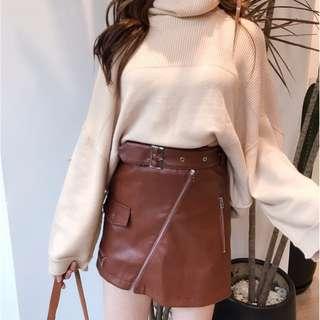 Leather Buckle Skirt
