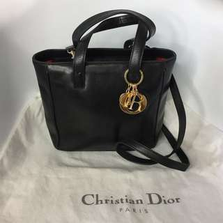 真品 金扣Auth Christian Dior Lady Dior lambskin bag black黑色羊皮可斜背