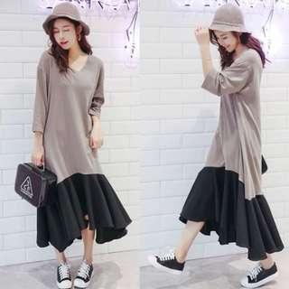 2018 Spring Korean version of the solid color stitching dress female seven sleeves irregular long skirt tide