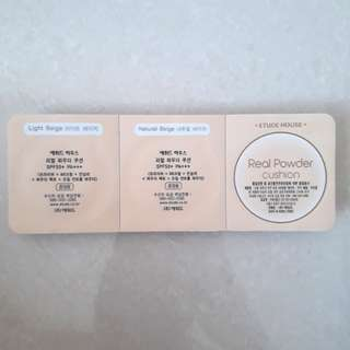 Etude House Real Powder Cushion Sample Set Pack Light Beige Natural Beige And Puff Sponge BB/CC Cream
