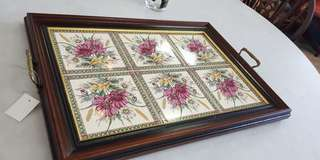 Vintage serving tray with vintage tile