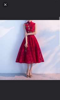 Red qipao floral design dress / evening gown