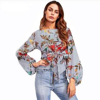 Lantern Sleeve Belted Mixed Print Blouse| SGD 25|S M