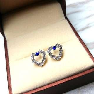 日本藍水晶心型防敏感閃亮耳環 Japanese Blue Crystal Heart-Shaped Anti-Sensitive Shiny Earrings