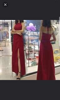 Red halter neck open slit Dress / evening gown