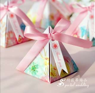 Available stock! Wedding Candy Box Birthday Baptismal Souvenir Sweet Box Pyramid Box
