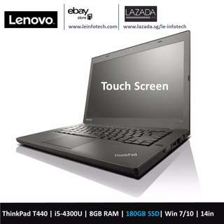 Lenovo ThinkPad T440 touch Screen SSD Laptop 14in Notebook Core i5 4th Gen 4300U 8GB 180GB
