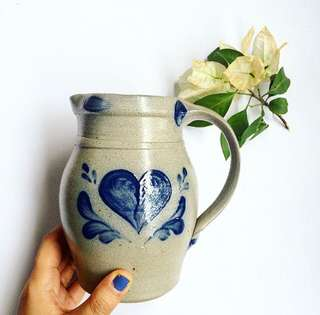 Handmade stoneware pitcher with stamp