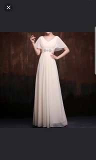 (plus size available) batwing design champaign dress / evening gown