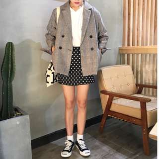 ☁️ Korean Ulzzang Plaid Checkered Blazer ☁️
