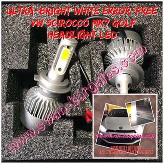 Volkswagen VW Scirocco Golf MK7 Plug and Play Error-free 6500K White LED Waterproof Light Bulb for Headlights Low Beam Lamp Continental Cars