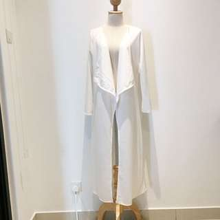 BRAND NEW Maxi Waterfall Cotton White Cardigan