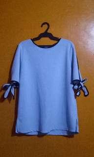 Light blue tie blouse