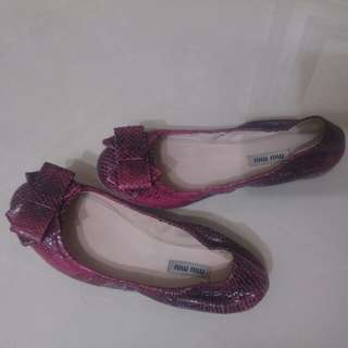 🚚 Miumiu紫紅色漸層蛇紋娃娃鞋