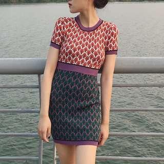 Retro Print Knit Bodycon Dress [PO]