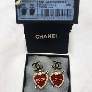 Authentic Chanel chanel Couture Heart Earring  *Limited Edition*  *discontinued design*  *come with original box/dust bag and receipt* *brand new*