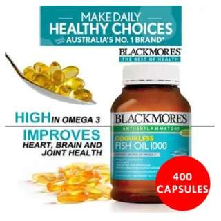BN Blackmores Odourless Fish Oil 1000mg 400s