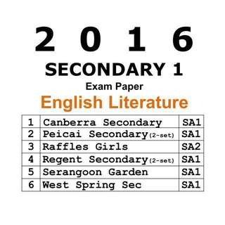 2016 Sec 1 English Literature Exam Paper  / Test Papers  / Top School Papers  / Secondary 1 / School Papers / Literature in English